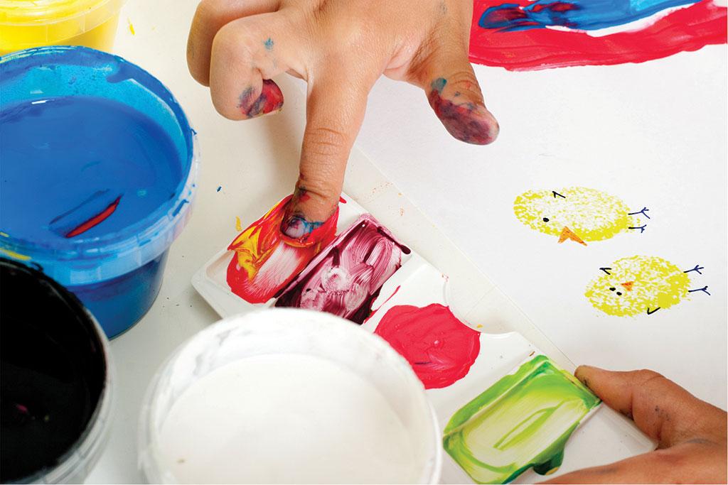 Fingers full of paint