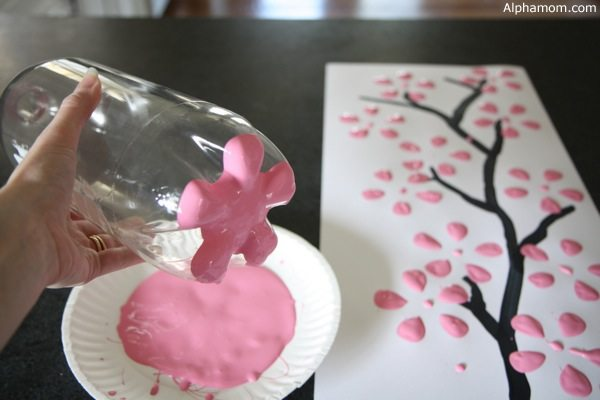 easy art and craft ideas for kids - cherry blossom art