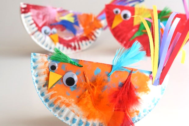 easy art and craft ideas for kids - paper plate rocking birdies