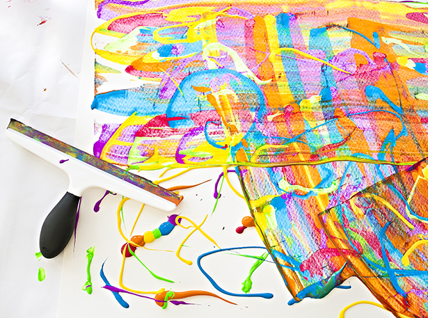 easy art and craft ideas for kids - rainbow squeegee painting