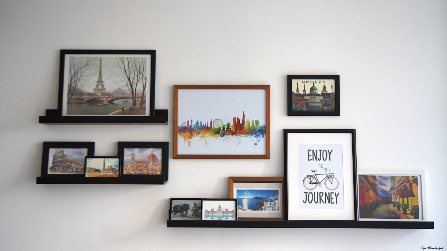 easy DIY wall decor ideas - travel wall