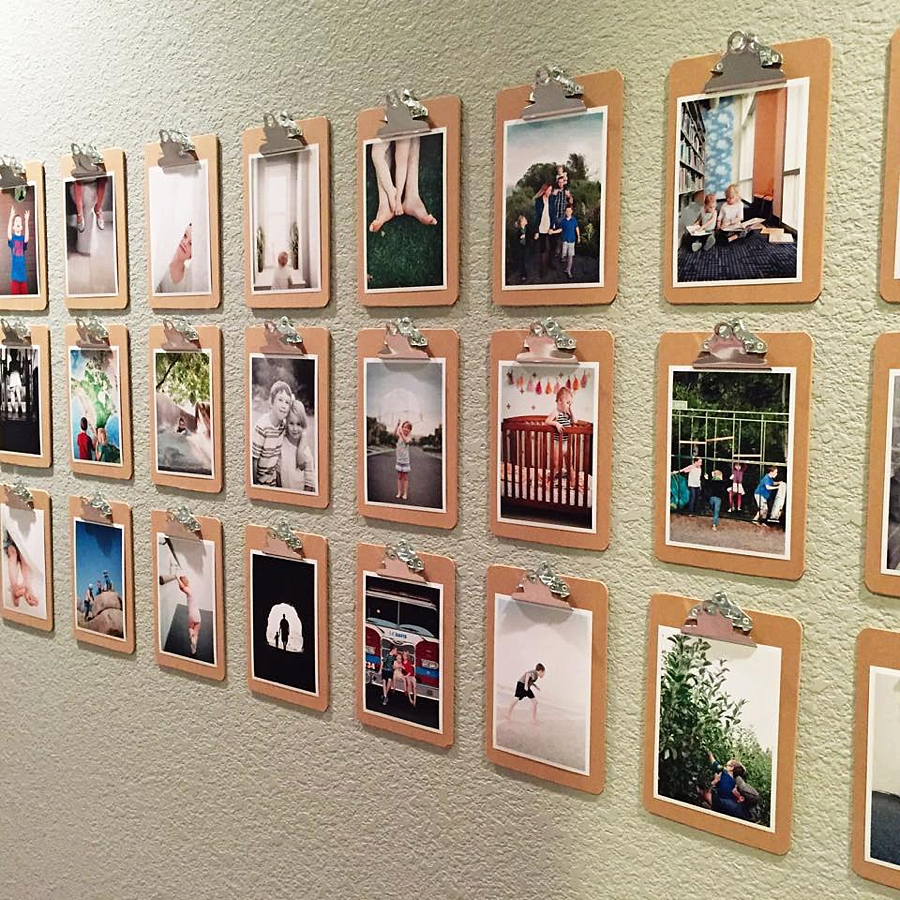 Clipboard photo wall